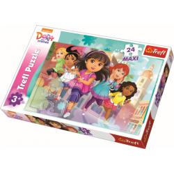 Maxipuzzel 24 pcs - Ready, set, start! / Dora and Friends - Legpuzzel