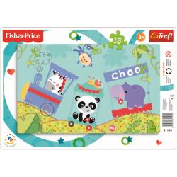 Framepuzzel 15 pcs - Happy train / Fisher Price Mattel - Legpuzzel