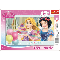 Framepuzzel 15 pcs - Tea party / Disney Princess - Legpuzzel