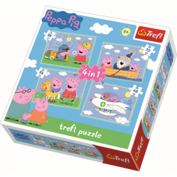 4 in 1 - Peppa op reis / Peppa Pig - Puzzel