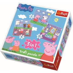 3 in 1 - Spelen op school / Peppa Pig - Puzzel