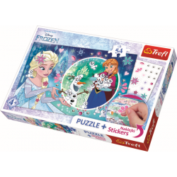 Frozen, 54 stukjes plus stickers - Legpuzzel