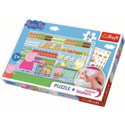 Peppa Pig, 35 stukjes plus stickers - Puzzel