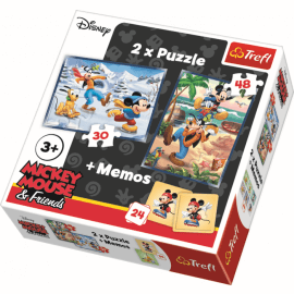 2 in 1 + memos - Fun with friends - Mickey Mouse Disney - Legpuzzel