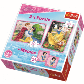 Puzzles 2in1 + memos - Snow White in love - Princess - Legpuzzel