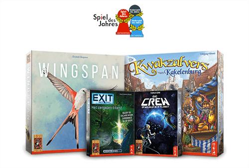 Enkele winnaars van de Kennerspiel des Jahres van de afgelopen jaren zijn Wingspan, Kwakzalvers van Kakelenburg en EXIT.
