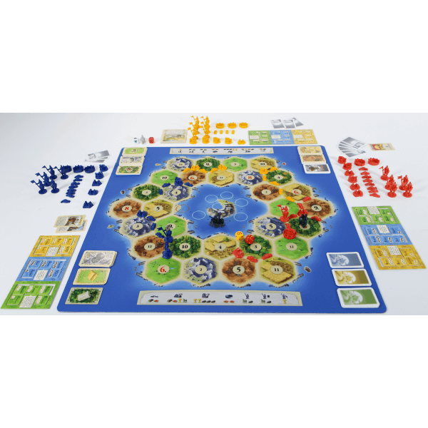 Catan playmat Atoll speelsituatie