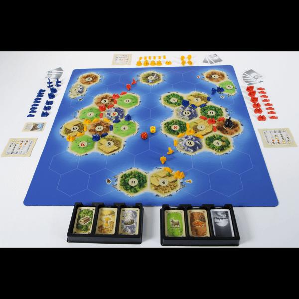 Catan playmat Islands speelsituatie