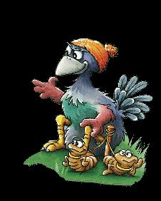 Kip zittend met regenwormen
